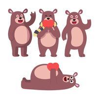 Posa orso carino Il ragazzo animale sveglio dell'orsacchiotto gioca per i caratteri di vettore dei regali di compleanno o dei biglietti di S. Valentino dei bambini messi. Orsacchiotto giocattolo animale, orso felice illustrazione di carattere