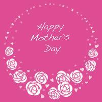 Cornice rotonda rosa vettoriale con spazio testo per la festa della mamma, San Valentino, sposa, ecc.