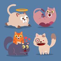 Gatti carini Animali felici, gatto sorridente della bocca del gattino divertente. Insieme dell'illustrazione di vettore del fumetto del carattere animale