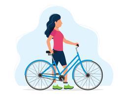 Donna con una bicicletta, illustrazione di concetto per uno stile di vita sano, sport, ciclismo, attività all'aria aperta. Illustrazione vettoriale in stile piatto