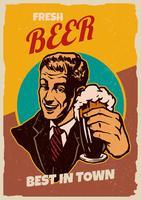 poster retrò di birra vettore