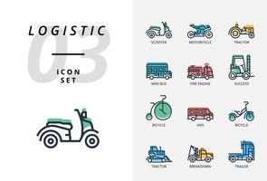 Icon pack per logistica, camion veloce, acquisto, tempi di consegna, carrello elevatore, container, imballaggio, container, nave, postino, merci via aerea, bike messenger, tracking.