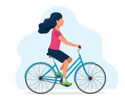 Donna in sella a una bicicletta, illustrazione di concetto per uno stile di vita sano, sport, ciclismo, attività all'aria aperta. Illustrazione vettoriale in stile piatto