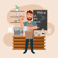 uomo del barista con la macchina e gli accessori in un coffee shop.