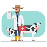 Veterinario della mucca che controlla gli animali domestici e gli animali della malattia all'interno dell'azienda agricola.