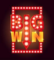 Retro segno con lampada Big Win. Illustrazione vettoriale