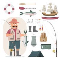 Il carattere del pescatore che tiene un grande pesce e una canna da pesca include un insieme di oggetti da pesca. vettore