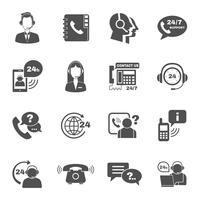 Set di icone di call center di contatto di supporto