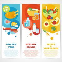 Set di banner verticale di mangiare sano vettore