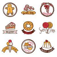 Insieme di etichette di emblemi negozio dolce vettore