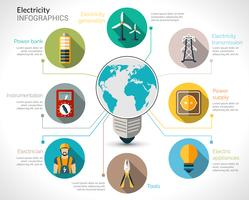 Insieme di infographics di elettricità vettore