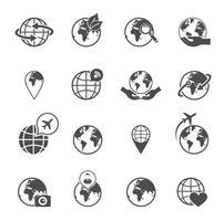 Set di icone di globo terra vettore