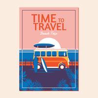 Vacanze estive in spiaggia con auto retrò e tavola da surf vettore