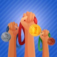 Mani dei vincitori che tengono le medaglie vettore