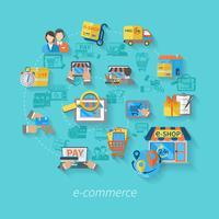 Shopping Concetto di e-commerce vettore
