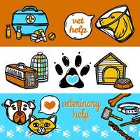 Set di banner veterinari vettore