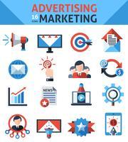 Icone di marketing pubblicitario vettore