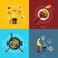 icona grill barbecue piatta vettore
