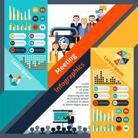 Riunione infografica set vettore