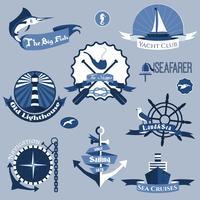 Set di etichette di mare vettore