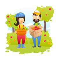 Gli agricoltori in giardino vettore
