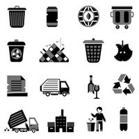 Icone di immondizia nere