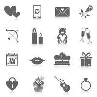 Set di icone romantiche vettore