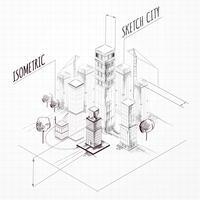 Abbozzo di costruzione di città isometrica vettore