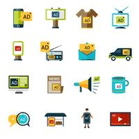 Set di icone di pubblicità vettore