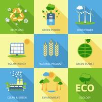 Set di concetto di ecologia vettore
