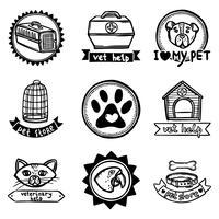 Set di emblemi veterinari vettore