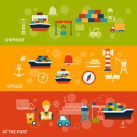 Set di banner del porto marittimo