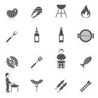 icona grill barbecue nero vettore