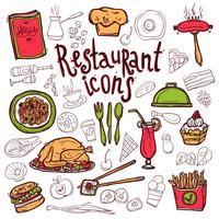 Schizzo di simboli di doodle di icone del ristorante vettore