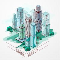 Schizzo isometrico città colorata vettore