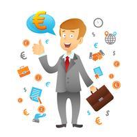 Icone di affari e uomo d'affari vettore