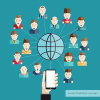 Concetto di comunicazione sociale vettore