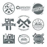 Set di etichette di carpenteria vettore