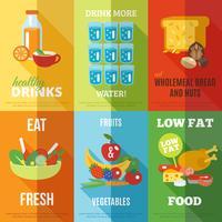 Set di poster di mangiare sano vettore