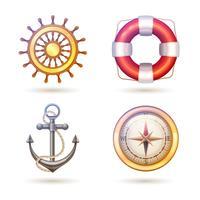 Set di simboli marini vettore