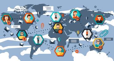 Infographics della rete sociale vettore