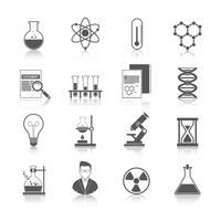 Icone di chimica nere vettore