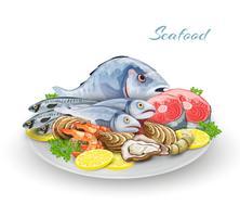 Composizione del piatto di frutti di mare