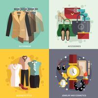 Icone di vestiti piatte