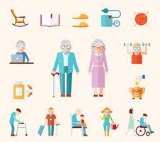 Icone piane di stile di vita senior