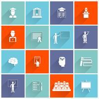 Icone di istruzione superiore piatte