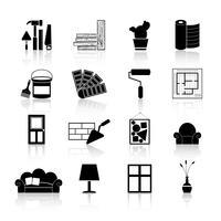 Icone di interior design nere vettore