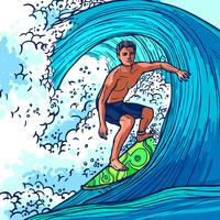 Sfondo uomo surfista vettore