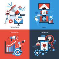 Set di marketing pubblicitario vettore