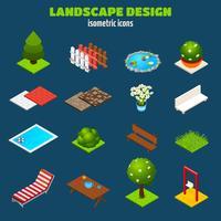 Icone isometriche di progettazione del paesaggio vettore